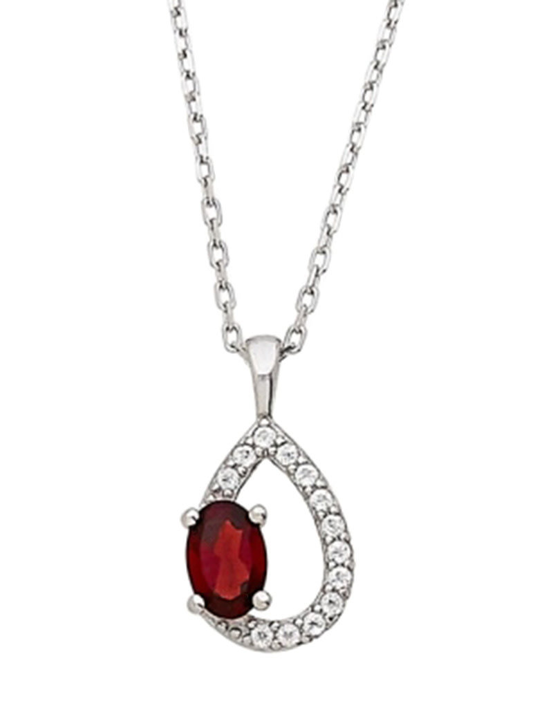 Sterling Silver Teardrop Garnet and White Topaz Necklace 18""