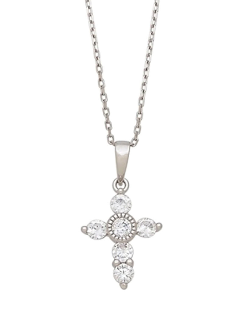 Sterling Silver Mini Cross with CZ Necklace 18""