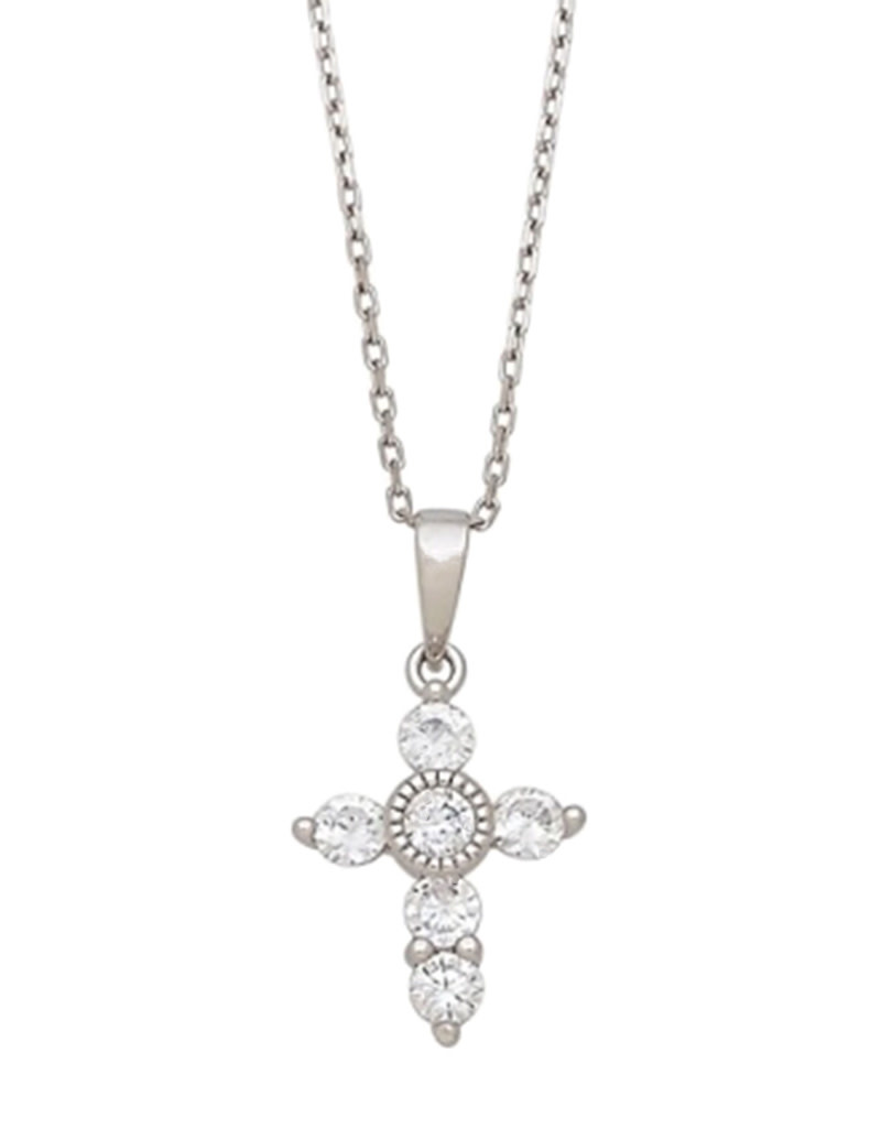 Mini Cross with CZ Necklace 18""