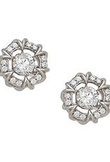 Sterling Silver Dancing CZ Stud Earrings
