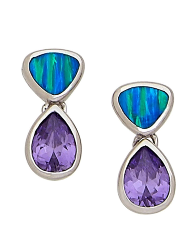 Sterling Silver Synthetic Opal and Purple CZ Post Earrings