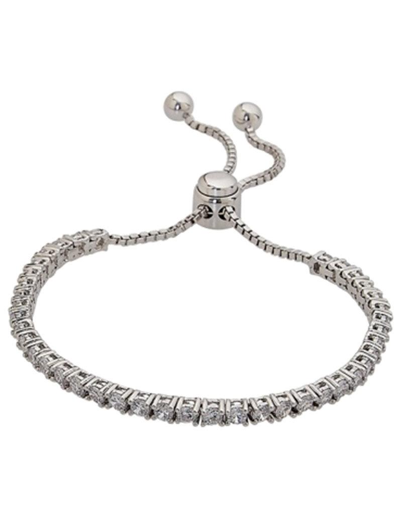 "Sterling Silver Adjustable Bolo CZ Tennis Bracelet 7"" to 10"""