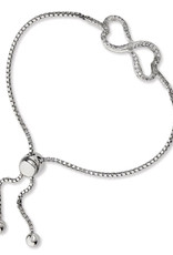 "Sterling Silver Double Heart CZ Adjustable Bolo Brarcelet 7"" to 9"""