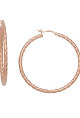 Sterling Silver Twisted Hoop Earrings with 14k Rose Gold Vermeil Finish 46mm