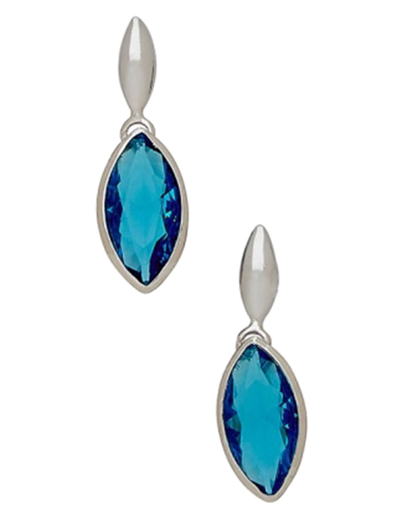 Sterling Silver Marquise Blue CZ Post Earrings 23mm