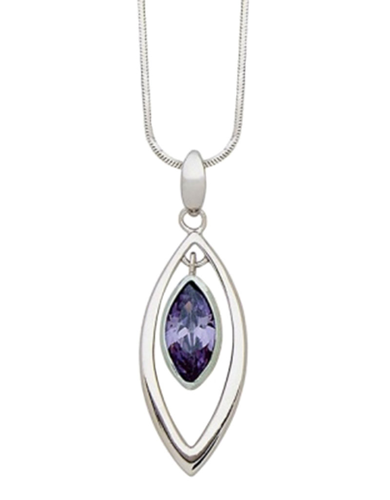 Sterling Silver Marquise Purple CZ Necklace 18""