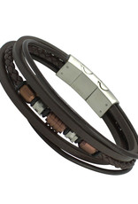 Men's Multi Strand Brown Leather Bracelet 8.5""