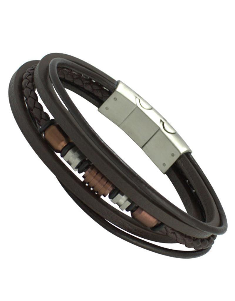 """Men's Multi Strand Brown Leather Bracelet 8.5"""""""