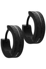 4mm Wide Black Stainless Steel Huggie Earrings 13mm
