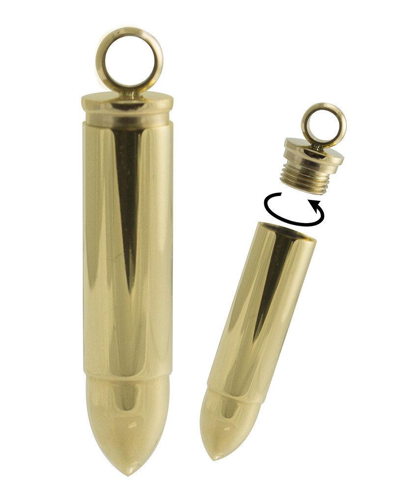 Men's Gold Stainless Steel Bullet Pendant 42mm