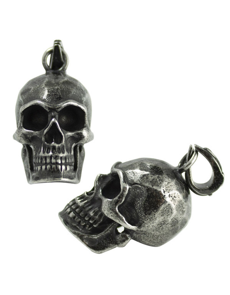 Gun Metal Steel Skull Pendant 29mm