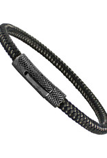 """Men's Stainless Steel Black Cable Wire Bracelet 8.5"""""""
