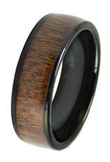 Men's Wood Inlay Tungsten Band Ring
