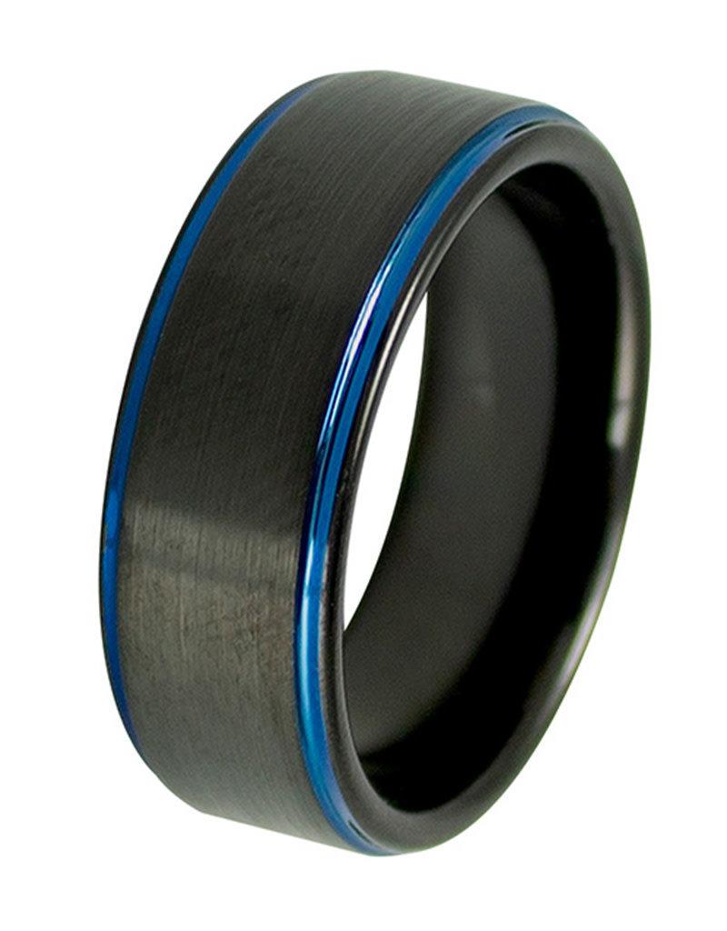 Men's Blue Edge Black Tungsten Band Ring