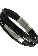 Men's Multi Strand Black Leather Bracelet with Steel ID Bar