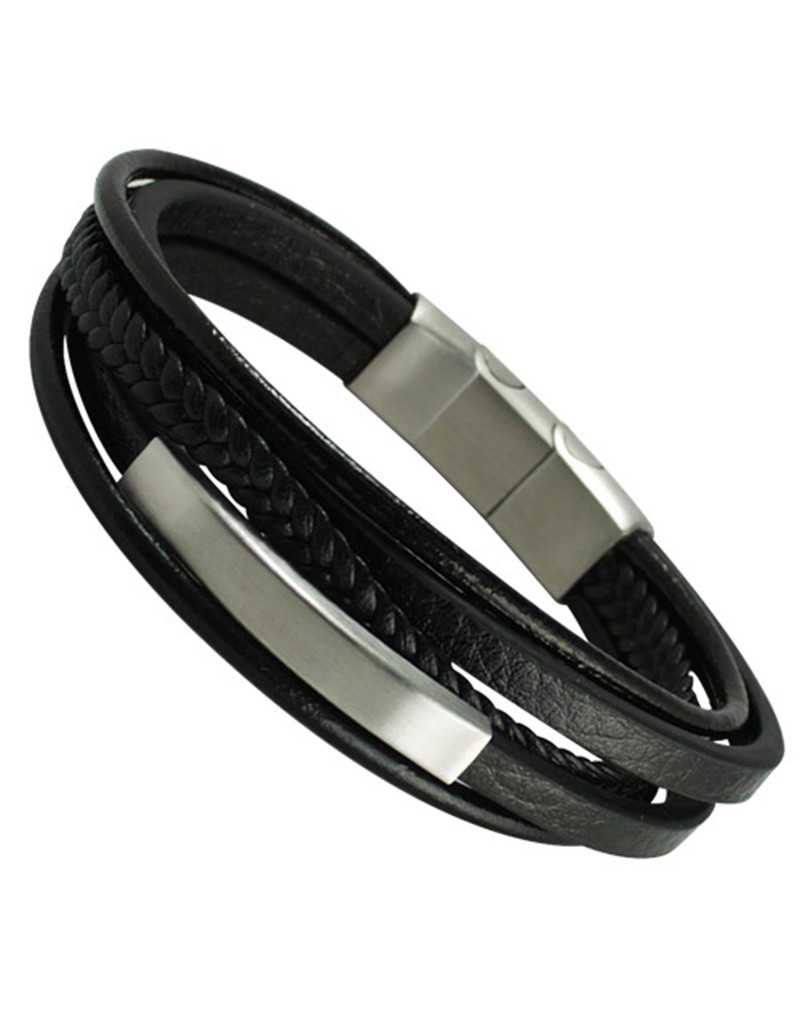 Multi Strand Black Leather ID Bracelet