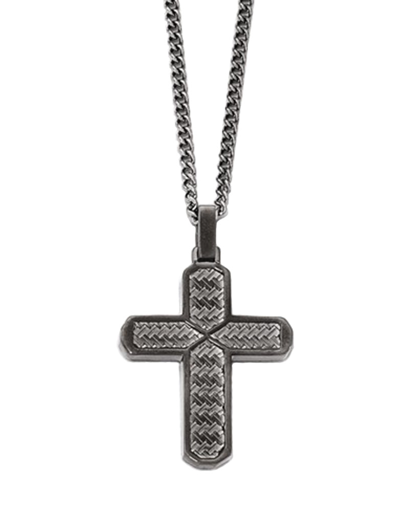 Textured Steel Cross Necklace 22""