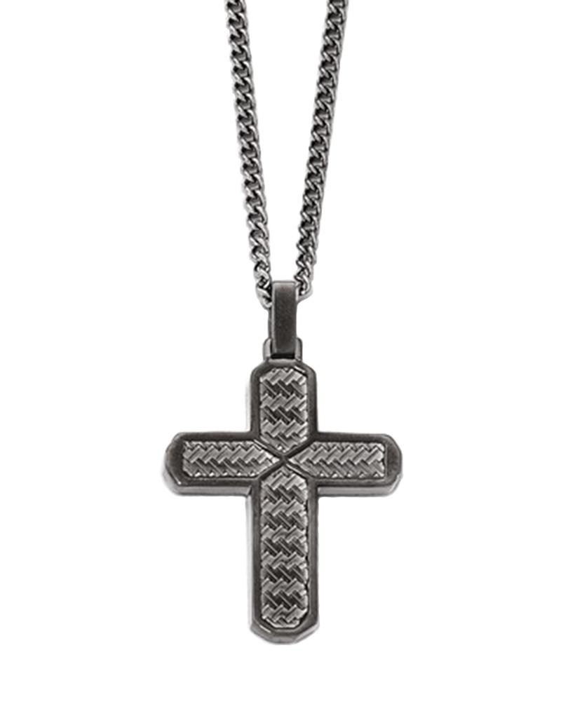 """Textured Steel Cross Necklace 22"""""""