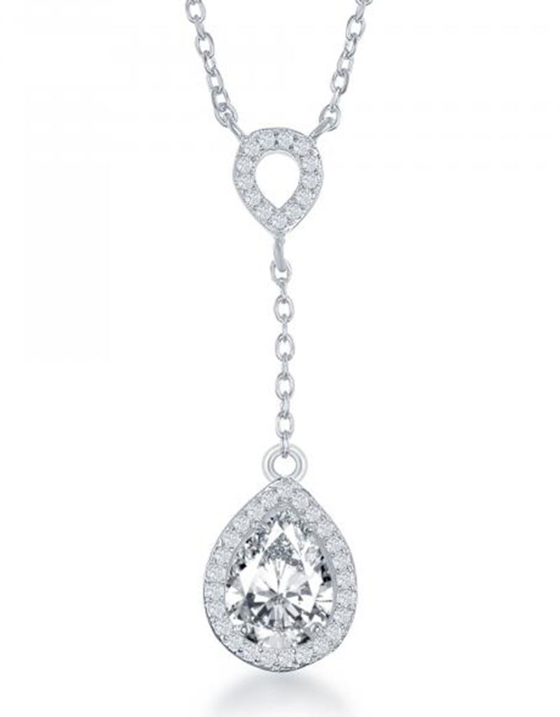 "Teardrop Dangle CZ Necklace 16""+1"""