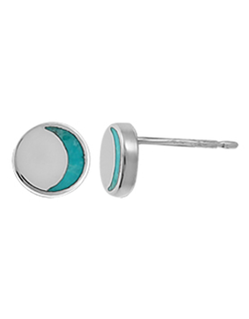 Crescent Turquoise Stud Earrings 6mm
