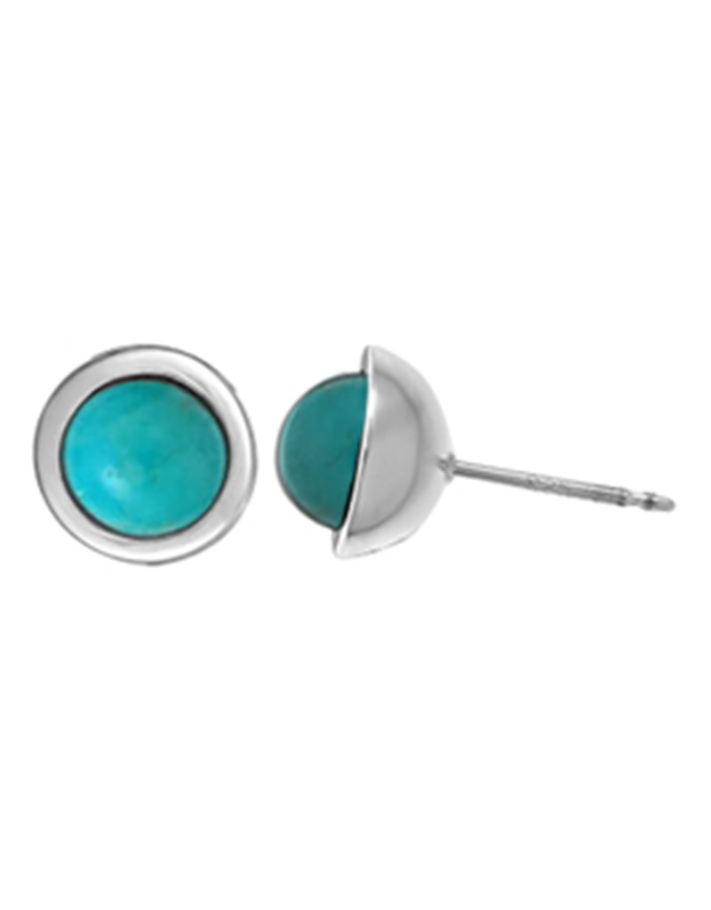 Round Turquoise Stud Earrings 8.5mm