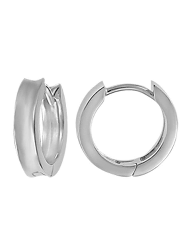 Sterling Silver Concave Huggie Earrings 15mm