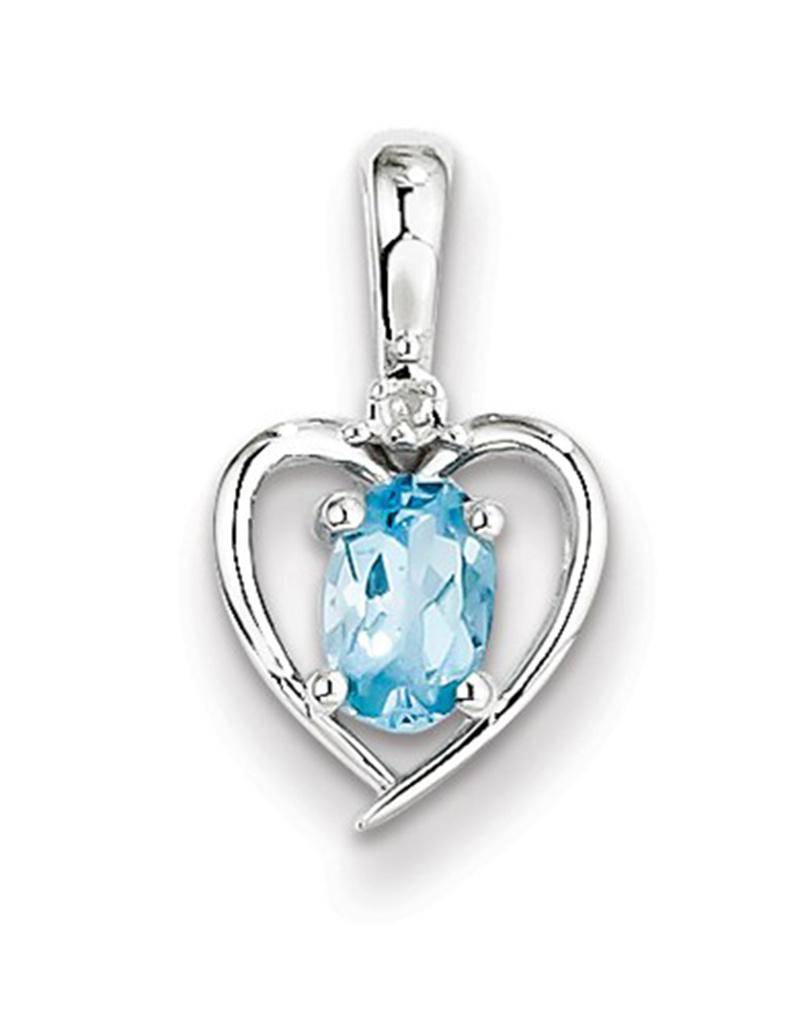 Heart Blue Topaz Diamond Necklace