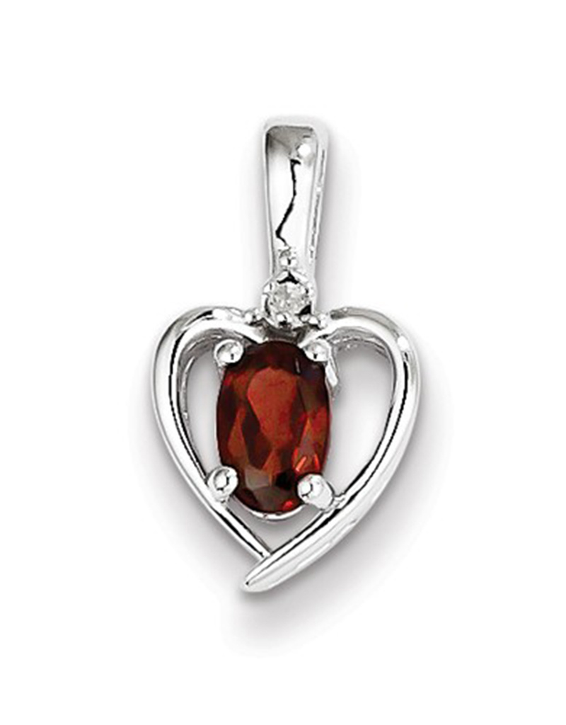 Heart Garnet Diamond Necklace