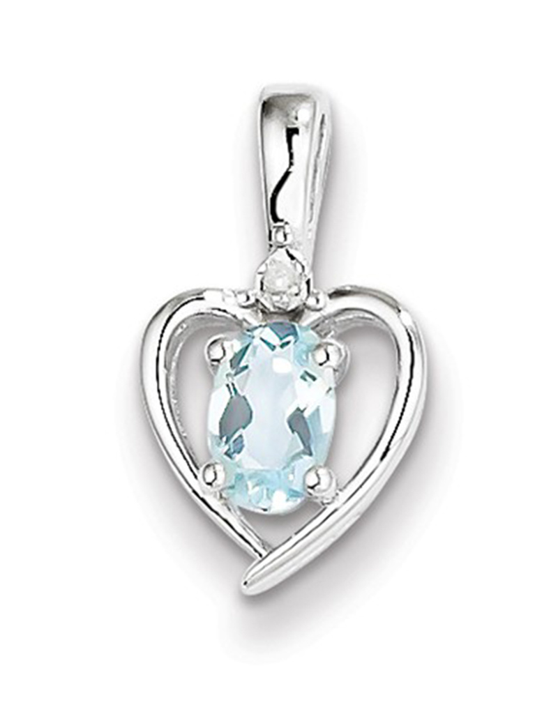 Heart Aquamarine Diamond Necklace