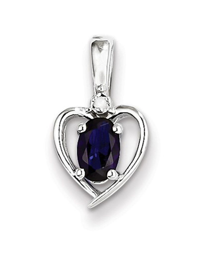 Heart Sapphire Diamond Necklace