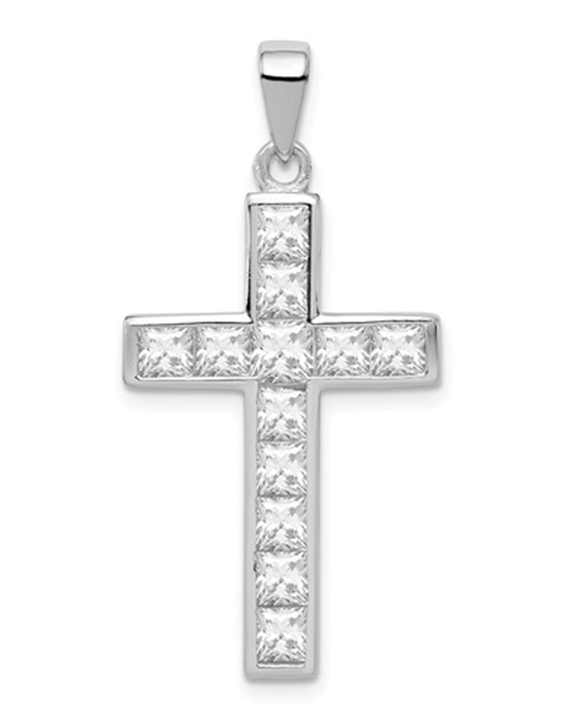 CZ Cross Pendant 26mm
