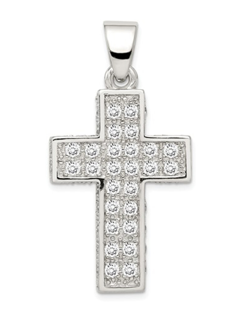 CZ Latin Cross Pendant 27mm