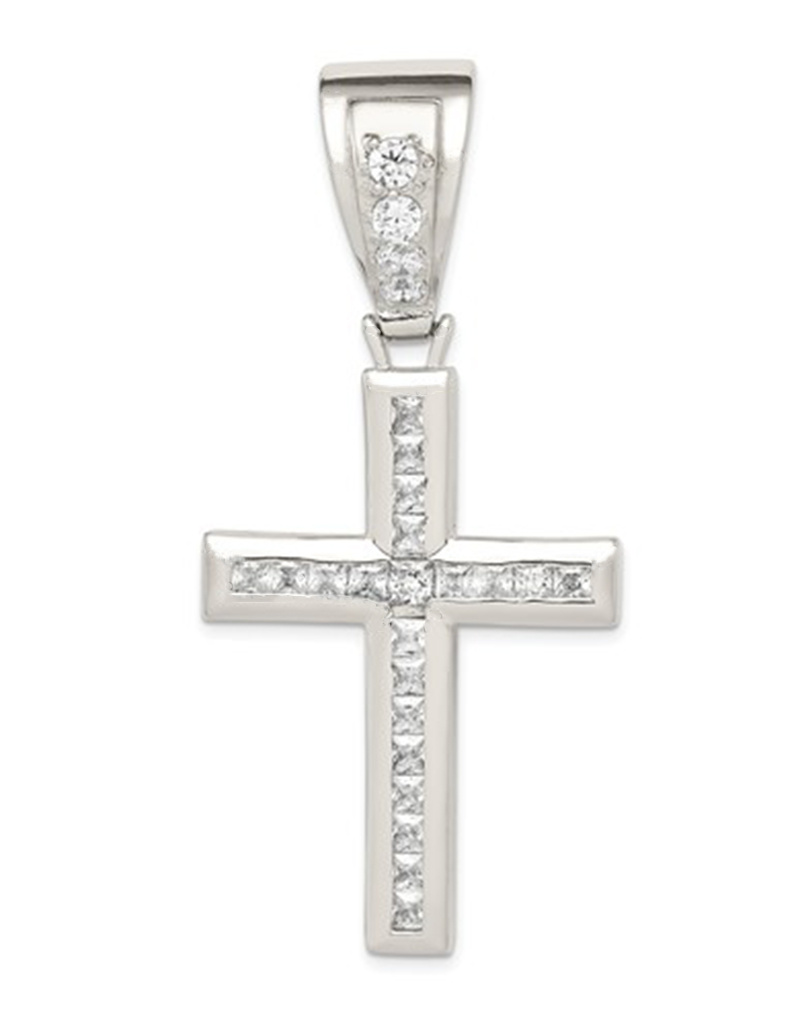 Sterling Silver CZ Cross Pendant 60mm