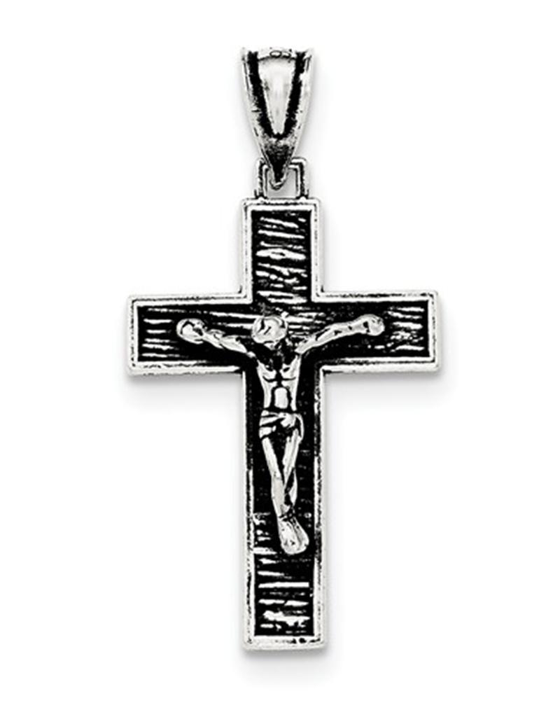 Oxidized Crucifix Pendant 28mm