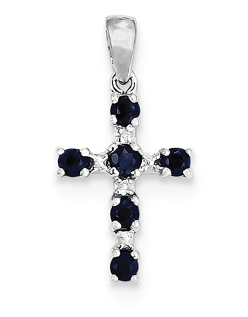Sapphire Cross Pendant 17mm