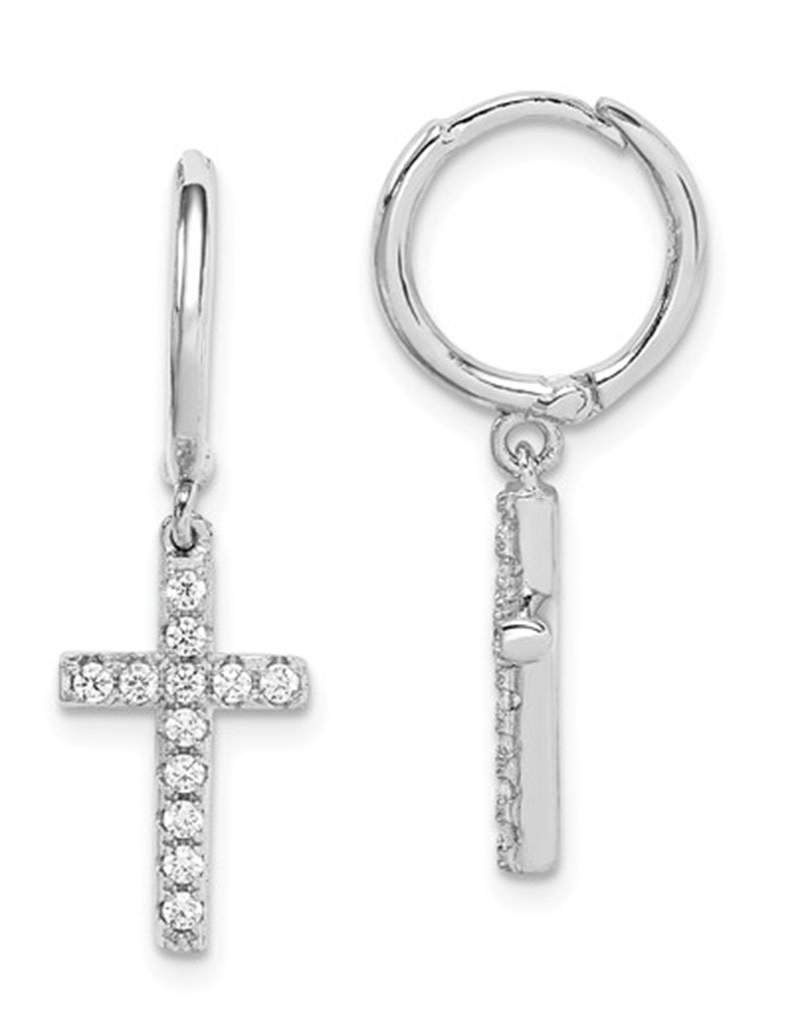CZ Cross Huggie Earring (Single)