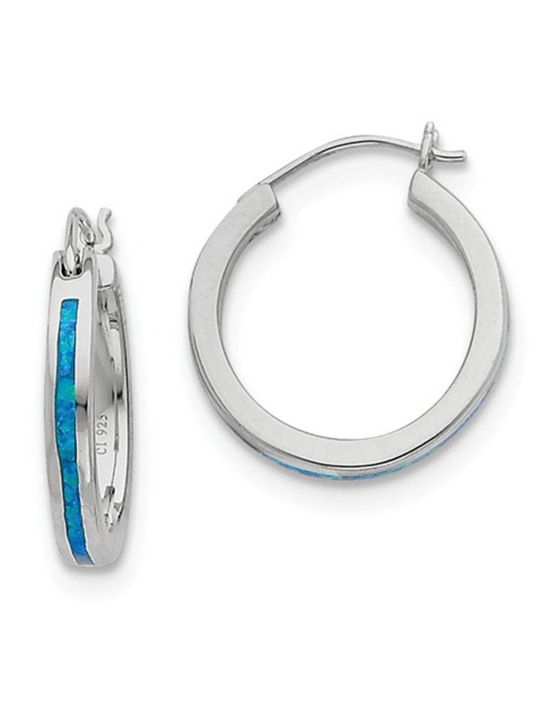 Blue Opal Hoop Earrings 19mm