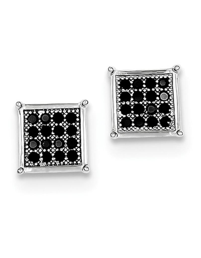 Square Pave Black CZ Stud Earrings 8mm