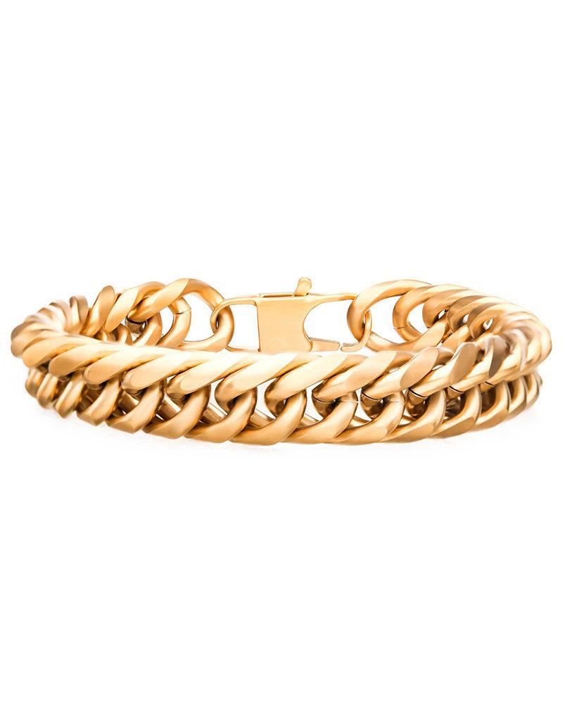"Men's Gold Stainless Steel 12mm Cuban Link Chain Bracelet 8.25"""
