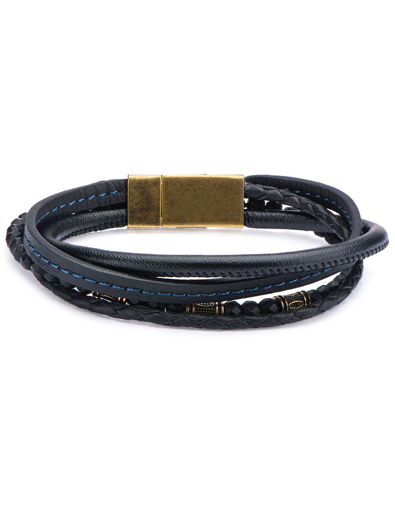 "Multi Strand Black Leather Bracelet 8.25"""