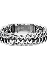 "Men's Stainless Steel 15mm Wide Double Curb Bracelet 8"""