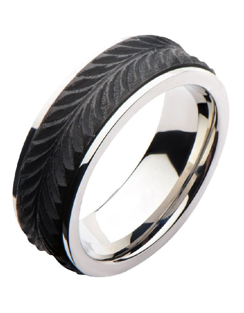 Men's Stainless Steel Carbon Leaf Band Ring