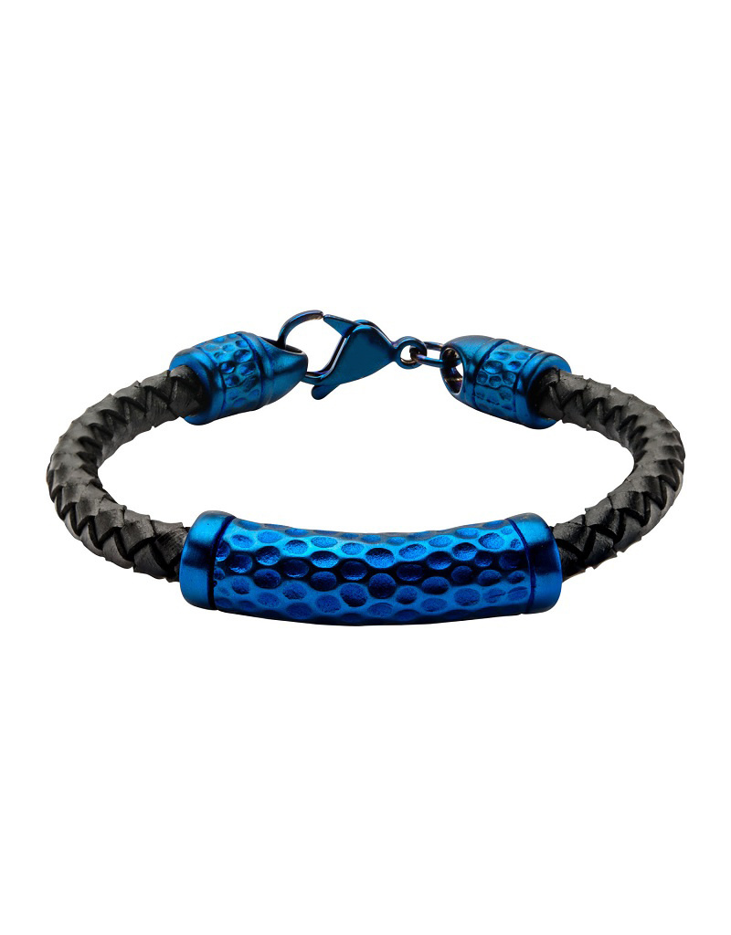 Hammered Blue Steel Bracelet 8.5""