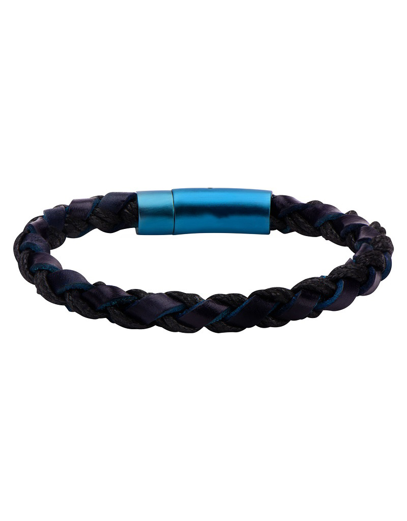 Braided Blue Leather Bracelet 8.5""