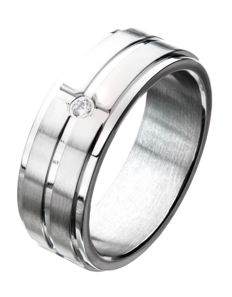 Steel CZ Band Ring