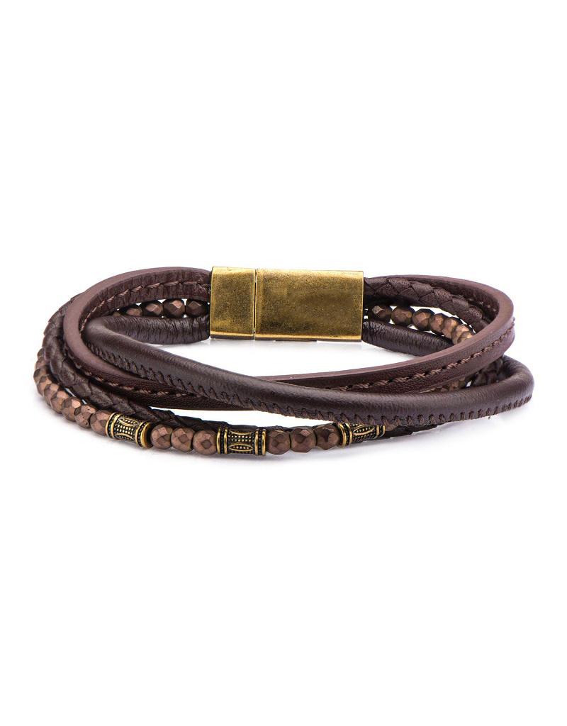 "Multi Brown Leather Bracelet 8.25"""