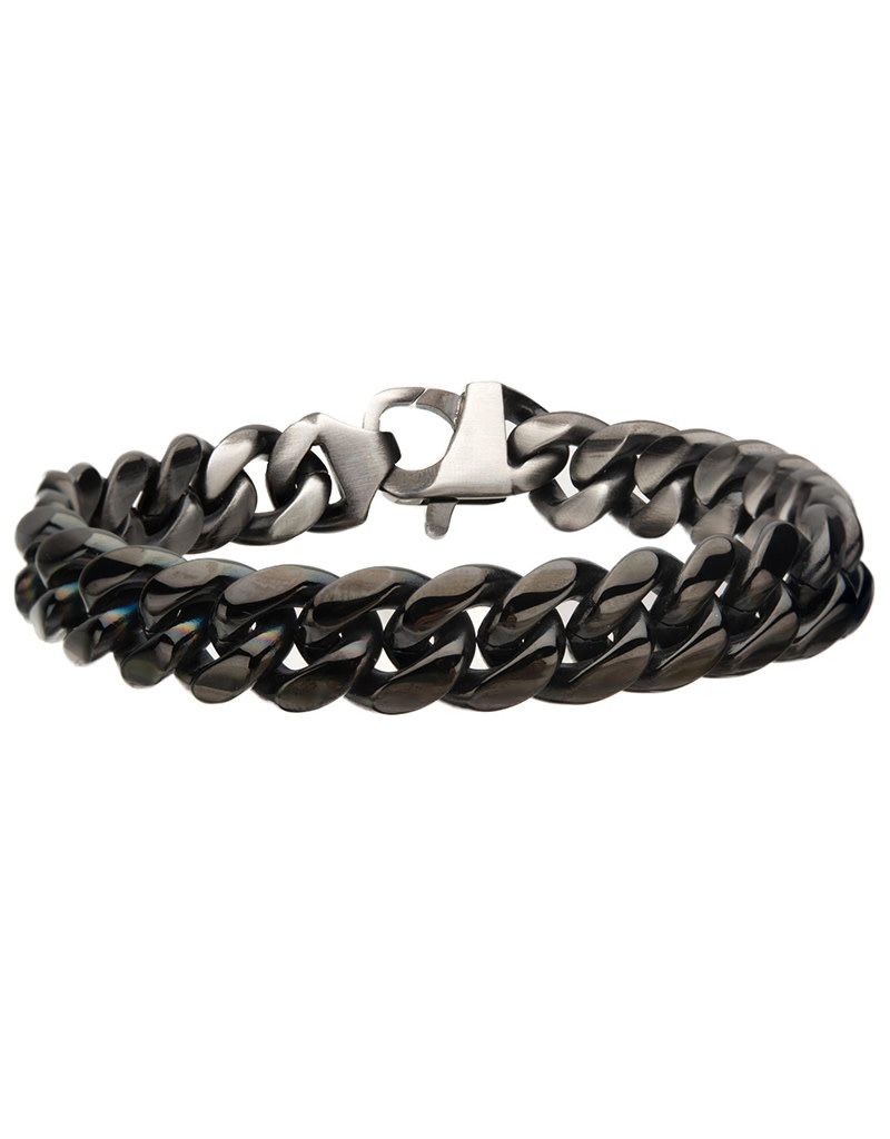 12mm Black Steel Curb Bracelet 8.5""