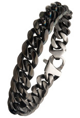 "Men's 12mm Black Stainless Steel Curb Bracelet 8.5"""
