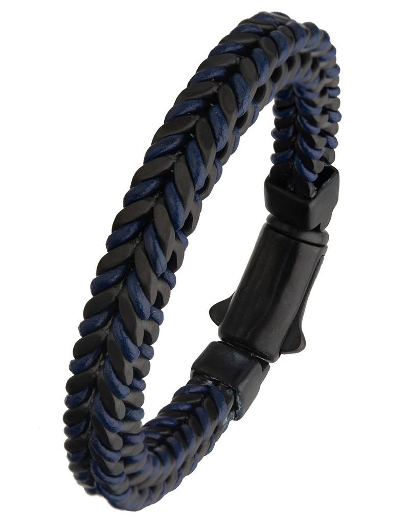 Blue Leather and Black Steel Bracelet