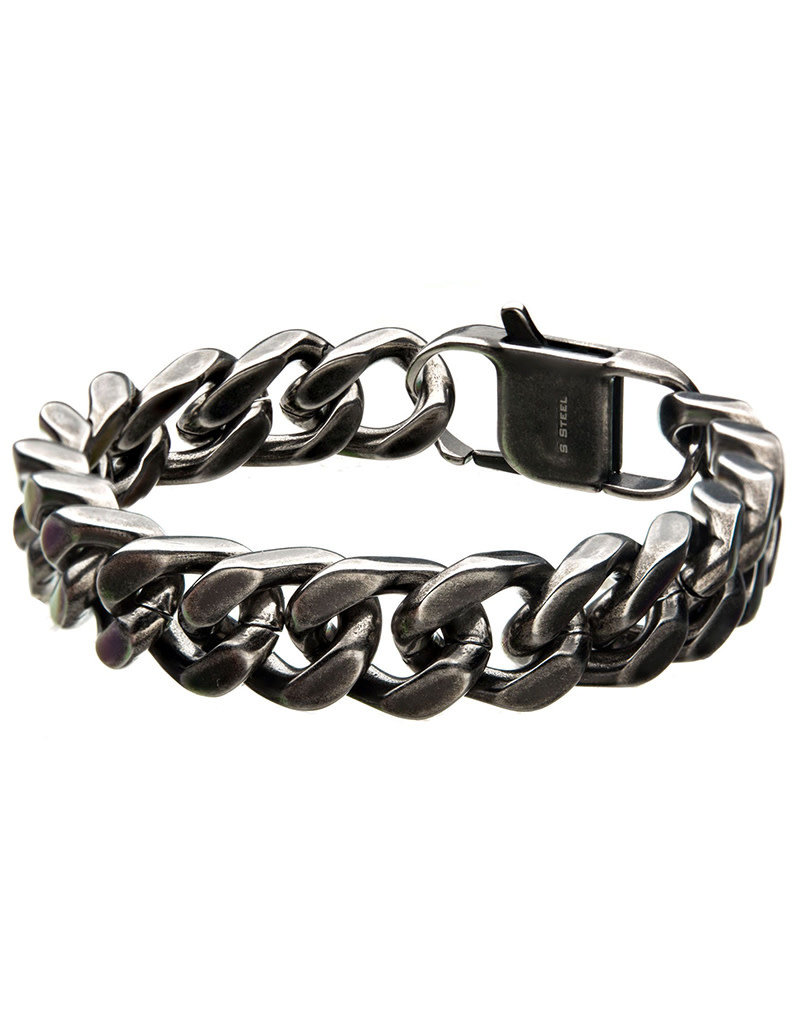 Men's Antique Finish 13mm Stainless Steel Curb Bracelet 8""